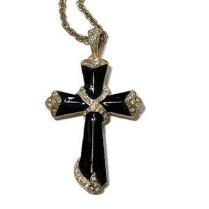 Gold tone and black enamel cross necklace